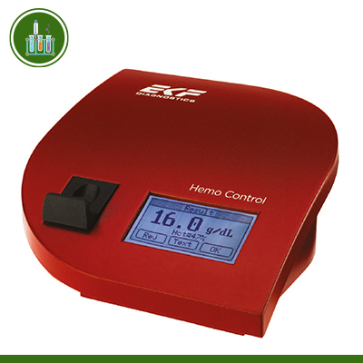 Máy phân tích hemoglobin (huyết sắc tố) và hematocrit (thể tích khối hồng cầu) Hemo Control (EKF Đức)